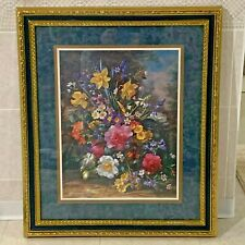 """Vintage Homco Home Interiors Picture Colorful Flowers Frame 23""""x28"""" Glass Nice"""