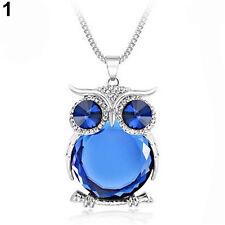 Fashion Women Owl Rhinestone Crystal Long Chain Pendant Necklace Jewelry Gift