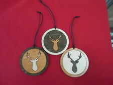 Set of 3 deer head w/ antlers ornaments laser cut wood USA made hunter gift
