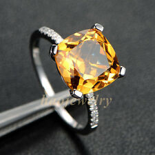 3.0CT Yellow Citrine 9mm Cushion Cut Solid 14K White Gold Natural Diamond Ring
