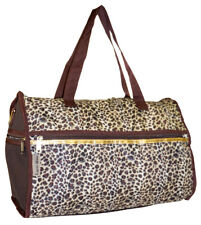 Leopard Print Canvas Duffle Bag Duffel Gym Sports Travel Luggage Carryon Carry