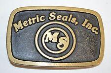 Vintage MS Metric Seals Inc Hydraulic & Pneumatic Pumps Brass Belt Buckle Rare