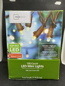 Mainstays Warm White 100 Count LED Mini Lights Indoor/Outdoor, Brown String