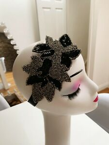 Black And Silver Beaded/Sequin Headband Fascinator Great Gatsby