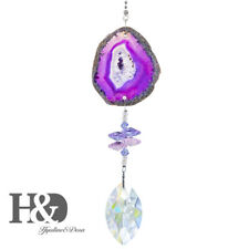 Suncatcher Hanging 50mm Crystal Prism With Purple Agate Ornaments Home Decor