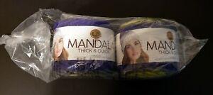 Lion Brand Mandala Thick & Quick Garden Maze Lot of 2 New Cakes / Skeins, 5.3 oz