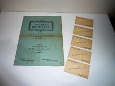EARLY PLAYHOUSE 1927 PROGRAMME LA MASQUE DRAMATIQUE 1927 WITH 5 PRESS TICKETS