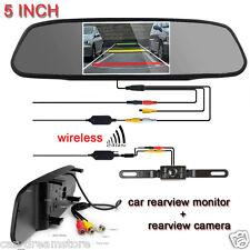 """5"""" TFT LCD Car Rear View Mirror Monitor+Wireless Backup Camera Night Vision CMOS"""