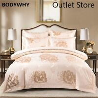 Luxury Bedding Sets Silk Cotton Jacquard Duvet Cover Set Fitted Bed Linen