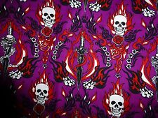 SKULL & DAGGER Fabric Cotton Craft Quilting Dress STEAMPUNK Plum By the Metre