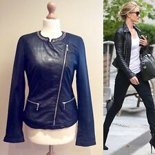 ZARA BLACK LEATHER BIKER JACKET SIZE S UK 10  JEWELLED NECK ZIP