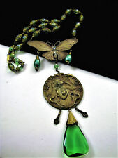 """VINTAGE CZECHO ART NOUVEAU HANDCRAFTED MAIDEN GREEN CRYSTAL NECKLACE  22 1/2"""""""