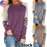 Womens Leopard Striped Long Sleeve Tops T Shirt Ladies Round Neck Baggy Blouse