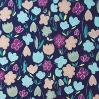 Floral Polycotton Fabric Metre Crafts Material TULIP Flower & BUTTERFLY SEWING