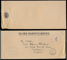 SEYCHELLES OFFICIAL OHMS ENVELOPE 1965 PAID HANDSTAMP SIGNED to GB
