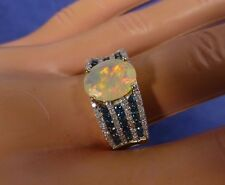 ETHIOPIAN OPAL WITH BLUE & WHITE DIAMONDS - 10K YELLOW GOLD RING - SIZE 9