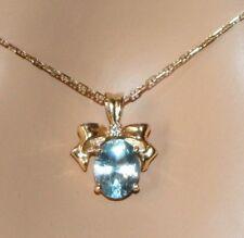 "ITALIAN 18KT Blue Topaz and Diamond Pendant with 18KT 20"" Chain Feminine Charm!"