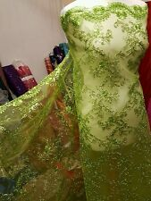 """3m new green quality BRIDAL SCALLOPED LACE EMBRIOUDED SEQUIN FABRIC 58"""" WIDE"""
