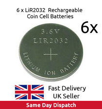 6 x 3.6V LiR2032 Rechargeable Coin Button Cell Battery Li-ion replace CR2032, UK