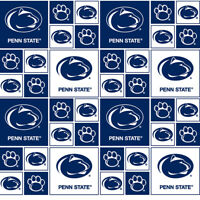 "Penn State Nittany Lions PSU Block Print Cotton Fabric By The 1/4,1/2,Yard, 43""W"