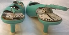 Oasis turquoise pointy toe stilletto slingback leather shoes size 37