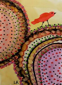 "ACEO art PRINT Bird colorful design by Lynne Kohler 2.5x3.5"""