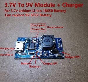 USB Lithium Li-ion 18650 Battery Charger Module 3.7v 4.2v Boost Step Up DC 9V