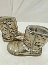 WOMEN'S 10 UGG AUSTRALIA SILVER GRAY SPARKLES CLASSIC SHORT BOOTS GUC
