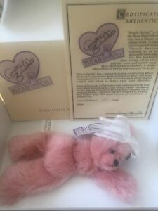 "New Vintage Annette Funicello Bear Co. 7"" Plush Bear - Peach Parfait COA & Tags"
