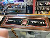 Vintage Herman Joseph's Beer Bar Mirror Sign with Wood Frame Large SIZE