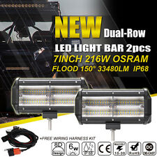 2X 216w 7inch 8D Osram Led Work Light Bar Flood Offroad Driving Truck For Jeep
