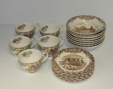HERITAGE HALL PENNYSYLVANIA FIELDSTONE BOWLS & COLONIAL OVERHANG CUPS + SAUCERS