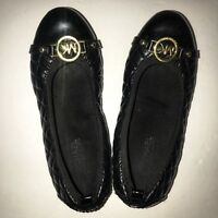 MICHAEL KORS Women's Fulton Black Leather Quilted Ballet Flats Size 4 Gold MK