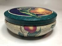 """TIN - GIFTCO Inc Partridge Pear Tree Collectable Tin Canister 5"""" D 2"""" H"""