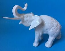 Royal Dux White Porcelain Elephant Figurine w Raised Trunk Czechoslovakia 6.5""