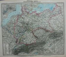 Original antique map GERMAN EMPIRE, NETHERLANDS,BELGIUM,SWITZERLAND,Stieler,1891