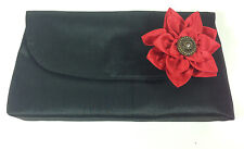 Flower Fabric Clutch Purse Brooch Pendant Embellished  Fabric Red Black Flap New