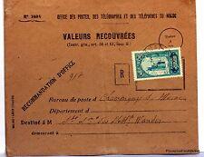 Lettre TIMBRE  MAROC VALEURS RECOUVRES RABAT     AV93