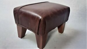 Footstool / Small Stool /  Real Leather Vintage Mocha Brown    (MH 4)