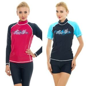 Women Rash Guard Top Ladies Swim Shirt Long Short Sleeve Surf Wear Vest Swimsuit