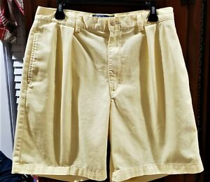 Polo Ralph Lauren double pleated Tyler yellow 100% cotton Shorts SZ 33