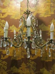 Vintage Bronze Large Double Pineapple Chandelier with Prisms