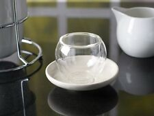 LA CAFETIERE Small BOLA Insulated Glass HANDLELESS CUP & CREAM SAUCER