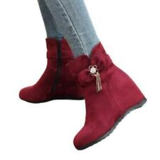 New Women Ankle Boots Rhinestone Wedge High Heel Zip Booties Shoes 42/43 Pumps D