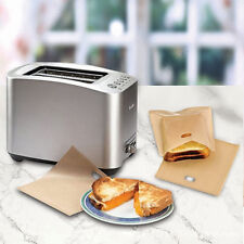 5Pcs Reusable Toast Toaster Bread Sandwich Baking Bags Pouch Pockets Non-stick