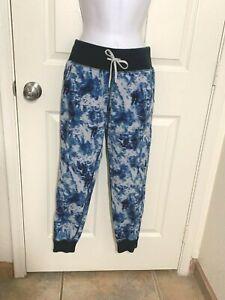 Lululemon Blue/White Tie Dye Workout/Exercise Pants w/zipper sides- size 6