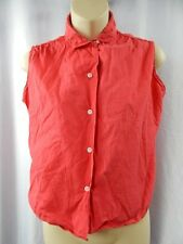 Vintage 1950s 60s Peter Pan Loop Button Red Blouse Shirt Top Rockabilly Retro