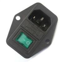 LED Rocker Switch Fuse Holder IEC320 C14-Inlet Power Socket AC250V
