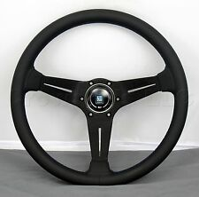 Nardi Steering Wheel Deep Corn 350 mm Classic Horn Black Smooth Leather - Blue