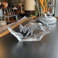 LARGE - Mats Jonasson Glass - Moose Bull - Signed Sculpture Sweden - FREE SHIP!!
